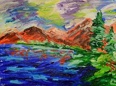 Red Mountains & Reflection (BKHagar *Kim*) Tags: bkhagar art artwork painting artday landscape mountain lake acrylic trees impressionist