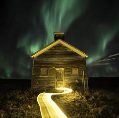 Illuminate (Lightcrafter Artistry) Tags: aurora church light night lightpainting longexposure nightphotography abandonedbuilding