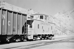 Union Pacific caboose in Cajon Pass in 1975 0541 (Tangled Bank) Tags: train railroad railway old classic heritage vintage north american 1970s 70s union pacific caboose cajon pass 1975 0541 up rolling stock