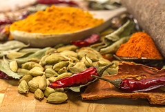 "Indian Cuisine (Kev Gregory (General)) Tags: spice mixed various colour colourful yellow red brown orange cassia ""cassia bark"" turmeric chilli powder cardamom pod clove cumin seeds ground dried mustard bay leaf ""bay leaf"" hot spoon serve arrange display spices indian food cooking background curry ingredient herbs chili pepper cuisine seasoning asian paprika kitchen herb cinnamon dry condiment wooden organic flavour flavor traditional kev gregory canon 7d"