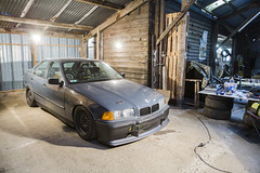 Track day car - BMW E36 320i swap 325i (Freddy Pacques) Tags: garage life bmw e36 serie 3 320i swap 325i stock engine condor speed shop bushing brake line kn air filter fibergrass parts coilovers d2 racing circuit track driftshop canon 5d ef 2470mm f28 l usm cyl6 bbs rz wheels yokohama ad08r tires front rear hr swaybar