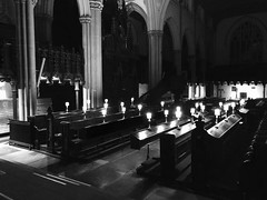 Stalling for time (BiggestWoo) Tags: bw white black evensong evening night dark lamp lamps stalls choir church minster leeds