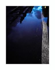 Sleeping blue (hélène chantemerle) Tags: nuit reflet rue urbain noir bleu night reflection water street city black blue