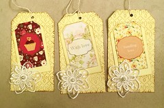 3 tags for a woman swap (CraftyBev) Tags: collage inking embossing swap tags
