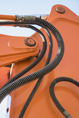 Elegance (Djaron van Beek) Tags: abstract curves wires orange industrial machine steel partofawhole composition lines digger massiveorange bokeh depthoffield dof reflections greasy constructionsite aesthetic eclectic angle arty ordinarythingasart layered connected bolts joints ironwire minimal minimalism forms shiny metal crossinglines djaron djaronvanbeek