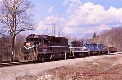 MGA 2000-2306 CR 6354-6861, Clarksville, PA. 3-13-1990 (jackdk) Tags: train railroad railway locomotive emd emdgp38 emdgp382 gp38 gp382 mga monongahela monongahelarailway conrail cr coal coaltrain coaldrag standardcab