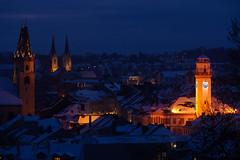 Verschneite Stadt (Photo@Wolf) Tags: winter schnee snow light licht oberfranken hof city satdt blau blue orange cityscape theresienstein