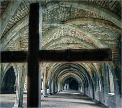 Perspective at Fountains Abbey (Pam RVA) Tags: symbol cross brickwork perspective yorkshire undercroft fountainsabbey