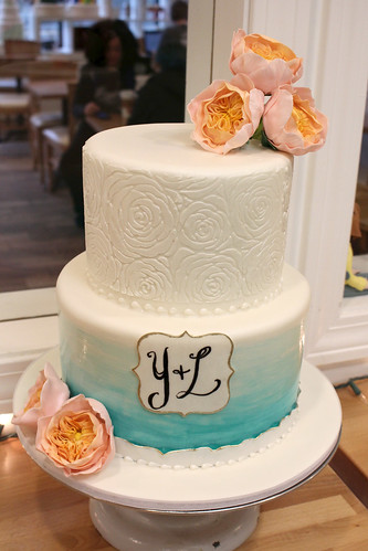 Rose Stencil Painted Cake with Sugar Cabbage Roses