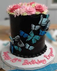 Butterfly Flowers (backhomebakerytx) Tags: birthday cake butterflies fudge roses flowers 18th home bakery backhomebakery
