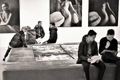 school job in the museum (peer.heesterbeek) Tags: monochrome students shertogenbosch museum walker tim netherlands brabant
