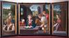 """Peintre bourguignon (1526) """"Triptyque de l'Adoration des Bergers, avec saint Nicolas et sainte Catherine"""" (trois panneaux peints sur bois) — monastère royal de Brou (Ain, France) (Denis Trente-Huittessan) Tags: nicolas"""