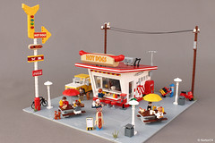 Hot Dog Stand (Andrea Lattanzio) Tags: hotdog kiosk stand lego minifigure foitsop collectible vendor burger bar moc afol