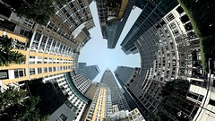 The Earth IS ROUND !  ....Explore (BIKEPILOT, Thx for + 4,000,000 views) Tags: canarywharf round tall photoshopped photoshop london england uk britain riverthames city town buildings architecture isleofdogs docklands earth officeblocks