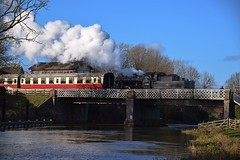 2MT 78018 departing Wansford. across the River Nene to Peterborough (NVR). 08 01 2017 (pnb511) Tags: nenevalleyrailway heritage trains steam preserved wansford loco locomotive power lattice framework bridge water river mogul 260