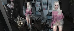Naughty Kitten (fakyocouch resident) Tags: pink sweater albino whitehaired secondlife