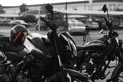Small Bikes: Big Fun III (F051) Tags: bnw blackandwhite blancoynegro highcontrast nikkor18 50mm18 biker motorcycle bike bikes d100 nikon helmet