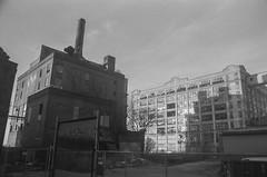 Abandoned Warehouses, Sunset Park Waterfront, Brooklyn (josephkrings) Tags: 1stavenue abandoned brooklyn greenwoodcemetery ilfordhp5 newyork nikkor28105mm13545 nikonn70 sunsetpark blackandwhite brokenglass warehouse