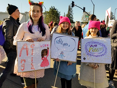 Schuyler sisters (quinn.anya) Tags: schuylersisters hamilton sign pussyhat protest womensmarch womensmarchoakland womensmarch2018 signs