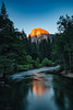 Yosemite sunset 2 - Half Dome shines in golden light. (logical_j) Tags: landscape california yosemite halfdome longexposure river forest peak rock mountain reflection sunset
