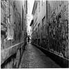 Snevringen (seen from Mejlgade) (K.Pihl) Tags: rolleiflex35e ilfordfp4125 darkroom print schwarzweiss planar75mmrolleiflex aarhus pellicolaanalogica rodinal125 bw blackwhite film analog alley graffiti