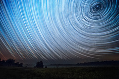 Sleeping with One Eye Open (Matt Molloy) Tags: mattmolloy timelapse photography timestack photostack movement motion night sky stars trails lines circles spin northstar polaris field mist trees burnthills ontario canada landscape nature countryside lovelife