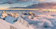 Über den Wolken.. ¦¦2¦¦ (PhiiiiiiiL) Tags: säntis toggenburg appenzell sunset over clouds über den wolken panorama snow schnee sonnenuntergang visipix