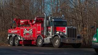 Twin steer Peterbilt 389 w/ a Jerr-Dan body