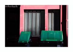 Rue des Terres-au-Curé (hélène chantemerle) Tags: extérieur ville parisxiiie rue devanture poubelles noir rose vert outdoor city house frontage trashcans black pink street green