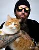 A Man and His Cat (E. Gene Chambers Photography) Tags: cat goku matt glasses beard orange white whitebackdrop tattoo reflections hugs love egenechambers eos5dmarkiv