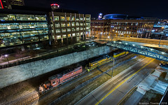 Ohio Central in Downtown Columbus, Ohio (Brandon Townley) Tags: trains railroad city long metal night light street