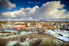 Drogheda in the snow (mythicalireland) Tags: drogheda snow town landscape streets rooftops churches steeple clouds sky morning