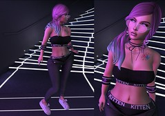 Post #1928 (şąşɧ =^^=) Tags: cute kawaii punk sporty glasses sun hearts top pants shoes sneakers ombre mesh bento secondlife applier hud hair makeup sparkle glitter neon light backdrop gacha choker necklace nails rings diamonds stones kitten kitty cat tattoo bow fluffy earrings