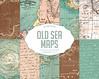"""Vintage maps digital paper """"Old Sea Maps"""" with vintage or antique sea maps, nautical maps, vintage maps backgrounds (Digiworkshop) Tags: etsy digiworkshop scrapbooking illustration creative clipart printables cardmaking maps marine blue"""