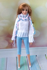 Barbie doll clothes. Hand-knitted white sweater, blue leggings and colorful scarf for 12 inch Barbie doll (uliakiev) Tags: barbie barbiedoll barbiedollclothes barbieclothes barbiesweater barbiecollector barbiecollection barbiefan barbiefashion barbieclothing barbiedolls barbiestyle barbiestream barbiecrochet barbieknit dollclothes dollsweater dollknitting