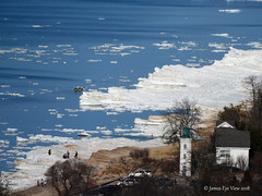 Winter Beach (JamesEyeViewPhotography) Tags: lighthouse lake michigan water winter greatlakes northernmichigan landscape lakemichigan nature february roberthmanninglighthouse sand snow beach boat trees empire jameseyeviewphotography