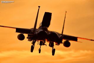 F-15E Strike Eagle at sunset RAF Lakenheath