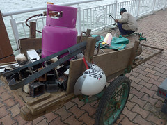 Railing repairs (Roving I) Tags: walkways workers workmen acetelynetorches cylinders gas hanriver helmets carts railings repairs danang vietnam