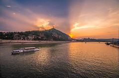 Sunset in the city (Vagelis Pikoulas) Tags: sun sunset budapest hungary europe danube river tokina 1116mm landscape city cityscape urban boat canon 6d sky clouds cloudy cloud colour colours colors color water travel