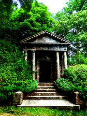 Thomas Pocklington (Steve Taylor (Photography)) Tags: thomaspocklington tomb highgatecemeteryeast highgate london architecture column steps door brown green uk gb england greatbritain unitedkingdom bush leaves tree cemetery cemetry overgrown grave graveyard marble
