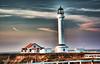 Point Arena Lighthouse (garofano_richard) Tags: clouds fence christmaslightsdecoration antenna ocean dirt grass outbuildings california portarenalighthouse