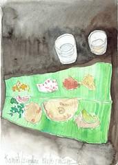 Déjeuner à Bengalore, India (Croctoo) Tags: croctoo croctoofr croquis crayon aquarelle watercolor repas inde bengalore palmier