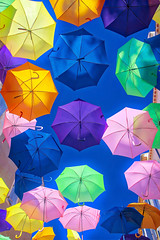 Summer Color (Paul in Japan) Tags: umbrella parapluie color vibrant summer france abstract design pattern texture light shadow rainbow blue pink green orange yellow violet