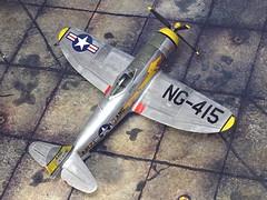 "1:72 Republic F-47D-30 ""Thunderbolt""; aircraft 44-41415 of the 197th Fighter Squadron, Arizona ANG (Air National Guard); Luke AFB (Arizona), 1952 (Whif/Hobby Boss kit) (dizzyfugu) Tags: 172 republic p47 f47 thunderbolt arizona air national guard ang post wwii yellow lion reserve nmf steel silver ng415 whatif whif fictional aviation hobby boss modellbau dizzyfugu"