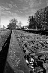 Wood On The Track (Alfred Grupstra) Tags: railroadtrack blackandwhite train transportation outdoors travel old people nopeople steel 977