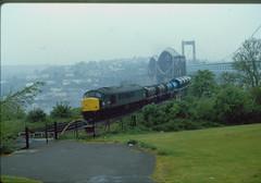 45003 on Tamar Bridge, 20 May 1985 (bob the lomond) Tags: bobthelomond 45003 tamar cornwall tamarbridge saltash brunel ikbrunel class45