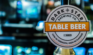 Close Up - Dark Star Beer Pump Label ( Table Beer - 3%) The Harp Pub ( Charing Cross) (High ISO) Fujifilm X100F (1 of 1)