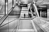 I Come In Peace (henny vogelaar) Tags: germany düsseldorf benratherstrase ubahn station wehrhahnline netzwerkarchitecten dxoviewpoint3 silverefexpro2 metal architecture modern glass stairs motion bw lines