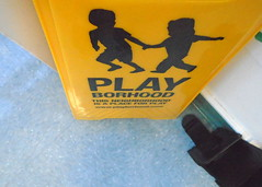 DSC02991 (classroomcamera) Tags: play playborhood sign signage signs children child holding hands walk walking running run game playing boy boys girl girls student students yellow black letters down below angle floor tile tiles warning street direction caution school classroom