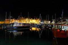 Harbour Lights. (alan.irons) Tags: harbour lights arbroath angus boats nightshot lowlight highiso reflections water fishingboats sailing survey vessels eos1dxmk2 winter dec2017